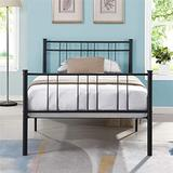 Strong and Sturdy Metal Single Bed Twin/Full for Boys Girls Teens Adults, Black Bed with Headboard Noise-Free and Non-Slip Standard Steel Bed Platform, Wrought Iron Bed Frame Bearing Weight 220LBS