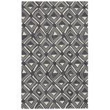 Dash and Albert Rugs Titan Geometric Hand Hooked Wool Area Rug Wool in Black/White, Size 120.0 H x 96.0 W x 0.25 D in | Wayfair DA1603-810