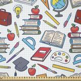 East Urban Home Ambesonne School Fabric By The Yard, Elementary School Theme Student Supplies Globe Paints & Brushes Books Education in White