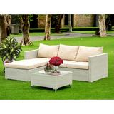East West Furniture 3 Piece Rattan Sectional Seating Group w/ Cushions All - Weather Wicker/Wicker/Rattan in Brown | Wayfair ACL3S03A