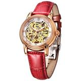 Women's Wrist Watches Japanese Automatic Mechanical Watch for Women Waterproof Analog Watch with Genuine Leather Skeleton Luxury Classic Elegant #R0206 (Red)