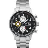 Hawker Hurricane Classic Chronograph Panda Black With Silver Tone Stainless Steel Bracelet Watch, 42mm - Black - AVI-8 Watches