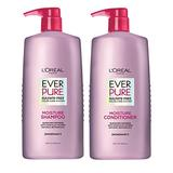 L'Oreal Paris EverPure Moisture Sulfate Free Shampoo and Conditioner with Rosemary Botanical, for Dry Hair, Color Treated Hair, 1 kit