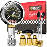 Bravex Compression Tester Kit - Petrol Engine Cylinder Compression Gauge Automotive Compression Gauge Tester with Adapter & Hose(8 Pieces Set)