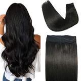 Halo Hair Extensions Human Hair,18inch 80g Natural Black Hidden Crown Hair Extensions Human Hair,Crown Hair Extensions Invisible Wire Fish Line Hair Extensions Straight 100% Human Filp Hair Extensions