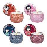Candles for Home Scented Aromatherapy for Pets Japanese Cartoon Geisha Gift Sets Portable Natural Fragrance Spices Soybean Wax 4 Fragrances 4 Packs 30H Long Time Lasting