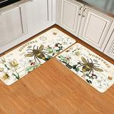 Brawvy 2 Pieces Kitchen Rugs and Mats Modern French Bee Garden Vintage Queen Floral Cushioned Comfort Standing Runner Mat Set for Kitchen, Entrway, Hallway