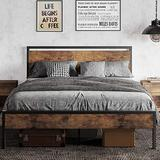 DICTAC Full Bed Frame with headboard Metal Bed Frame Rustic Style Platform Bed Frame Iron Bed Frame Heavy Duty Metal Steel slats Mattress Foundation No Box Spring Needed Easy Assembly