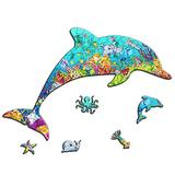 Celina Haydee Dolphin Figured Wooden Puzzle - Dolphin Puzzle for Kids and Adult - Dolphin Unique Shape Pieces Wood Puzzle 100 Pieces - Dolphin Sea Ocean World Puzzle