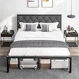 DICTAC Full Bed Frame with PU upholstered headboard Metal Bed Frame Platform Bed Frame Iron Bed Frame Heavy Duty Metal Steel slats Underbed Storage Space No Box Spring Needed Easy Assembly