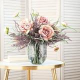DarbyCreekTrading Real Touch Lavender Rose, Ranunculus in Gray/Indigo, Size 18.0 H x 18.0 W x 14.0 D in | Wayfair FAR1143