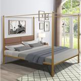Latitude Run® Canopy Metal Upholstered Four-Poster Bed, Queen SizeUpholstered/Metal/Linen/Linen Blend in Yellow, Size 62.59 W x 83.07 D in | Wayfair