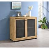 Millwood Pines Thorne Golden Oak Rectangular 2-Door Accent Cabinet Wood/Metal in Black/Brown/Gray, Size 36.0 H x 39.25 W x 15.5 D in   Wayfair