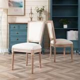 One Allium Way® French Dining Chair Two-piece Set Wood/Upholstered/Fabric in Brown, Size 38.5 H x 19.29 W x 22.25 D in | Wayfair