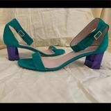 Kate Spade Shoes | Kate Spade Menorca Suede Leather Sandals Heels | Color: Green/Purple | Size: 7.5