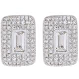 14k White Gold Pave Diamond & White Topaz Rectangle Stud Earrings - White - EF Collection Earrings