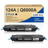 [2 Pack,Black] 124A | Q6000A Compatible Remanufactured Toner Cartridge Replacement for HP Color LaserJet 1600 CM1015mfp CM1017mfp 2605dtn 2605dtn 2605dn 2605dn 2605n 2600n 1600 Printer Toner Cartridge