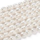 FASHEWELRY 10 Strands Grade B Cultured Freshwater Pearl Beads Strands 9-10mm Dia Natural Pearl Loose Beads for DIY Jewelry Making (White)