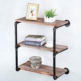 Floating Shelves for Wall Industrial Pipe Shelving,Rustic Pipe Shelves with Wood Iron Pipe Shelf,Bar Wall Shelves Hanging Book Shelves,Metal Floating Shelf Wall Mounted Bookshelf Unit(3 Tier,24in)