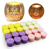 Candles for Home Scented Aromatherapy for Pets Tea Lights Gift Sets Portable Natural Fragrance Spices Soybean Wax Golden Candle Holders with Ice Fragments 4 Fragrances 24 Packs 8H Lasting