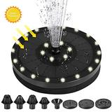 Solar Fountain,Colorful LED Lights Battery Solar Fountain,Solar Bird Bath Fountain Pump with 7 Nozzle Floating Solar Fountain Pump,Free Standing Solar Fountain Pump for Garden Pond Pool Outdoor