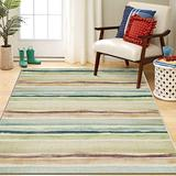 Mohawk Prismatic Area Rug Z0229 A416 Olive/Sand Faded Bars 8' x 10' Rectangle