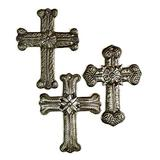 Small Galvanized Metal Milagro Cross, Handmade Haitian Crosses, Set of 3, Decorative Wall Collection, Upcycled Religious Décor, Hope, 3 x 4.25 Inches
