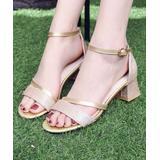 BUTITI Women's Sandals gold - Gold Metallic Glitter-Strap Square-Heel Sandal - Girls & Women