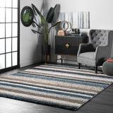 Langley Street® West Valley City Striped Handmade Tufted Brown/Teal Blue Area Rug Polyester in Blue/Brown/Green, Size 0.91 D in | Wayfair