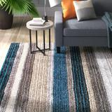 Langley Street® West Valley City Striped Handmade Tufted Brown/Teal Blue Area Rug Polyester in Blue/Brown/Green, Size 48.0 W x 0.91 D in | Wayfair