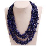 GEM-Inside Gemstone Necklace Lapis Lazuli Chips Dyed Charm Fashion Bohemia Statement Hyperbole Bib Stand String Beaded Necklace Crystal Unisex 18-21 Inches