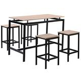 A-myt is Simple and Generous 5 Pieces Dining Set Black Dining Table Orthogonal Table with 4 Chairs 47 Inch Wooden Modern Dining Set Metal Frame Style Bar Table Convenient and Practical (Color : Oak)