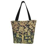 Canvas Tote Bag William Morris Tree of Life Handbag Casual Shoulder Bag Satchel with Zipper for Women Work School Travel Shopping Picnic