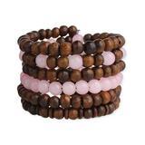 ZAD Women's Bracelets pink - Pink & Wood Beaded Coil Bracelet