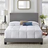 Queen Bed Frame UPHOLSTERED Faux Leather Platform Bed Frame Queen Chic and Modern Heavy-Duty Construction Queen Bed Frame with HEADBOARD (Queen, Gray Faux Leather)