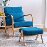 Nursery Rocking Chairs Nursery Rocking Chair Upholstered Rocking Chair with Foot Rest (Blue)