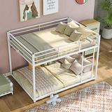 Full Over Full Bunk Beds, Floor Bunk Bed Low Bunk Beds for Kids, Teenagers, Adults, Space-Saving Design & Easy Assembly, White Metal Bunk Bed