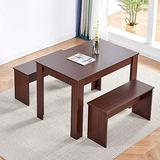 QIHANG-US 3-Piece Dining Room Set, Dining Table with 2 Benches for Small Apartment, Wood Rectangular Kitchen Table Chair Set, Dinette Set for 2-4 People, Red Oak
