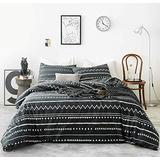 CLOTHKNOW Black Boho Comforter Sets Queen Farmhouse Geometric Bedding Comforter Full Aztec Dark Gray Bedding Full 3Pcs Black Comforter with 1 White Herringbone Geometric Comforter 2 Pillowcases
