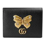 Gucci Bags | Gucci Linea Farfalla Leather Butterfly Card Case | Color: Black/Gold | Size: 3.25 X 4.3 X 1