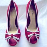 Jessica Simpson Shoes | Jessica Simpson Hot Red Peep Toe Pumps | Color: Red/White | Size: 11
