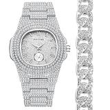 Watches for Men,Diamond Analog Bling Watch,Hip Hop Jewelry Quartz Crystal Rhinestone Watch & Bracelet Combo Set with Stainless Steel Band &Date