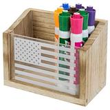 MyGift Magnetic Rustic Brown Burnt Wood & Acrylic Whiteboard Marker Holder, Home Office Supply Storage Box w/American US Flag Print