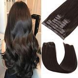 Clip in Human Hair Extensions 18 Inch 120g 9pcs Dark Brown Hair Extensions Clip in Human Hair Remy Clip in Hair Extensions Real Natural Human Hair Extensions Clip on Hair