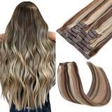 Clip in Human Hair Extensions 18 Inch 120g 9pcs Walnut Brown to Ash Blonde and Bleach Blonde Hair Extensions Clip in Human Hair Remy Clip in Hair Extensions Natural Real Human Hair Extension Clip ins for Women