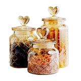 YY Vintage Style 3-Pack Amber Glass Food Storage Jars Canister Crystal Candy Jar, Clear Glass Apothecary Jar Wedding Candy Buffet Jar Food Jar (3-Pack Diamond lattice)