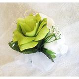 Pin Corsages ~ Many Colors ~ Mother Wedding Prom Silk Flowers Roses Calla Lily (Lime Green)