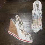 Coach Shoes   Coach Twirling Peeptoe Slingback Cork Wedge 7   Color: Cream/Tan   Size: 7