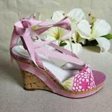 Coach Shoes   Coach Rachel Laceup Floral Cork Wedge 7.5   Color: Pink/Purple   Size: 7.5