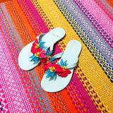 Nine West Shoes | Nine West Flip Flops Jelly Flowers Size 7.5. 8 | Color: Green/Pink | Size: 7.5